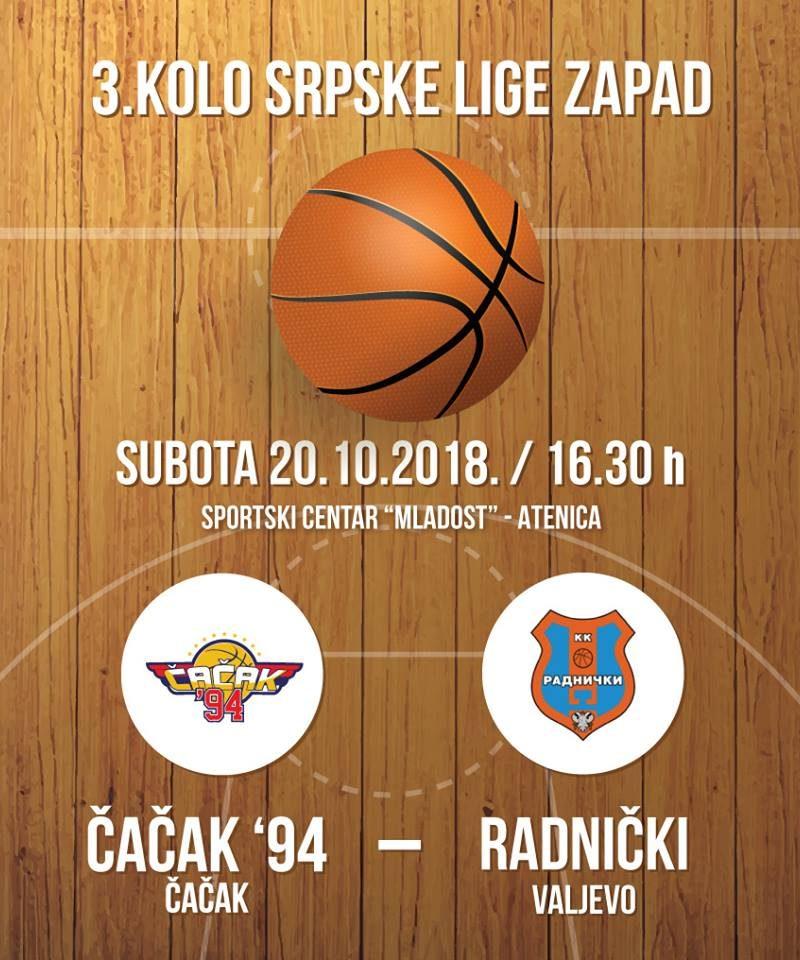 KK Čačak 94 želi prvi trijumf u šampionatu protiv Radničkog iz Valjeva!